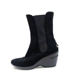 Cole Haan Black Suede Ankle Boots Wedge Style